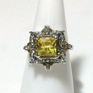 Ring Size 8 Simulated Diamond Yellow Citrine 445